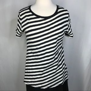 Rag & Bone size XS black white diagonal stripe tee